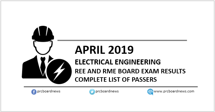 RESULTS: April 2019 Electrical Engineer REE, RME board exam list of passers