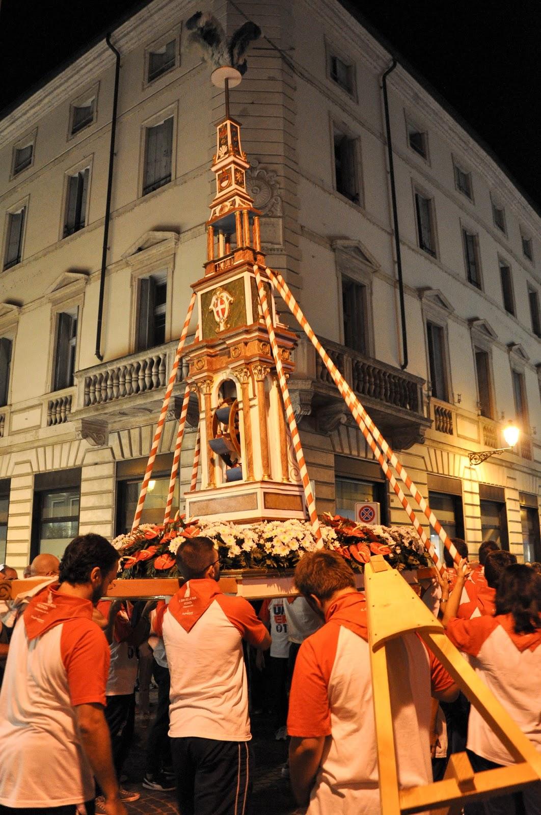 The parade with Giro della Rua going up Corso Palladio, Vicenza, Italy