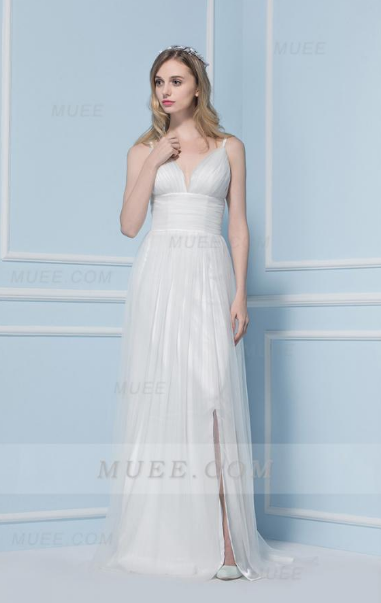 Long High Waist Chiffon Beach Wedding Dress