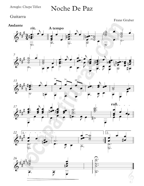 Partitura de Noche de Paz para Guitarra Clásica Arreglo por Chepe Téllez Silent Night Sheet Music for Guitar