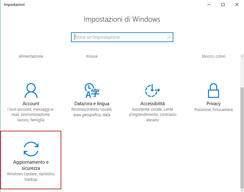 Windows 10, Impostazioni - Aggiornamento e sicurezza