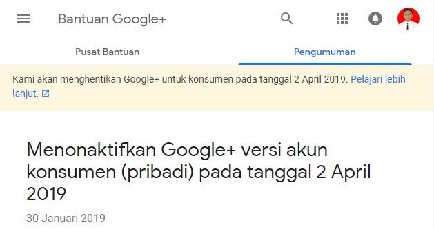 Google Plus Versi Pribadi Akan Resmi Dinonaktifkan Pada Tanggal 2 April 2019