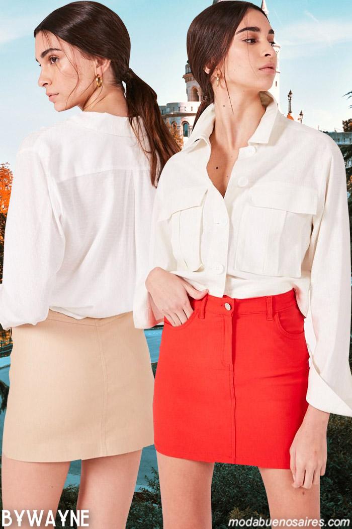 Camisas y minifaldas primavera verano 2020. Moda 2020.