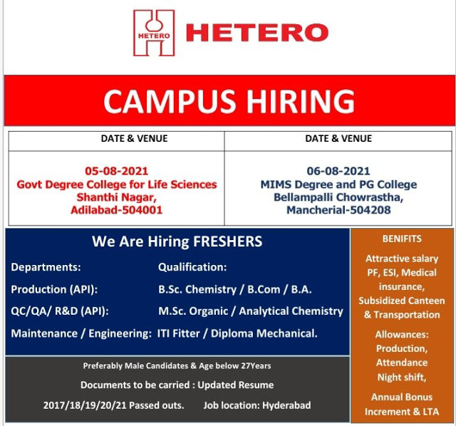 Hetero Pharma Company Campus Placement Drive For ITI, Diploma and Any Graduates Freshers Candidates  Hyderabad