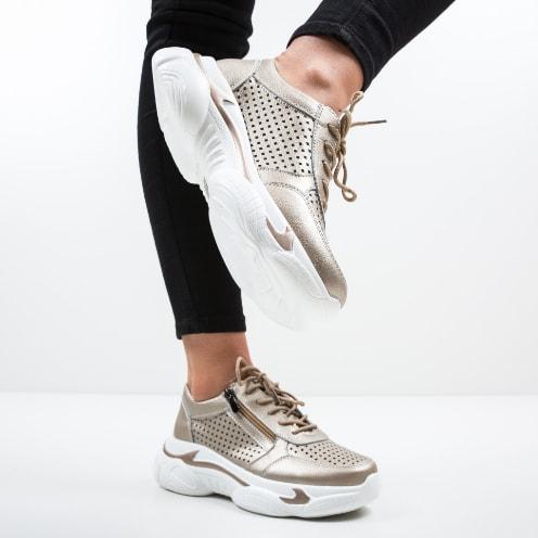 Pantofi sport aurii de dama cu talpa confortabila