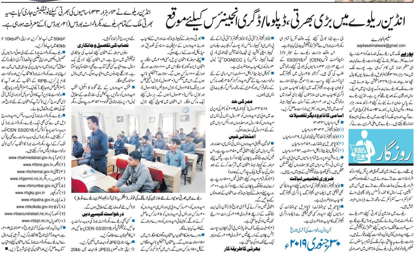 KRRC@AIKTC: Indian Railway mein badi bharti, Diploma / Degree