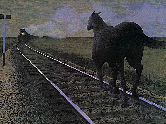 Alex Colville, horse towards train