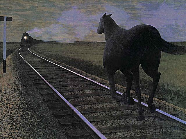 Alex Colville, horse towards train