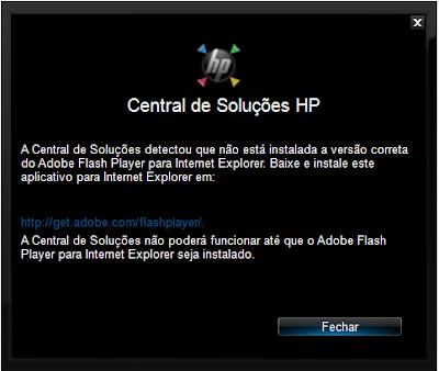 Aviso da central de soluções HP