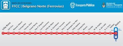 Mapa de Red Tren Belgrano Norte
