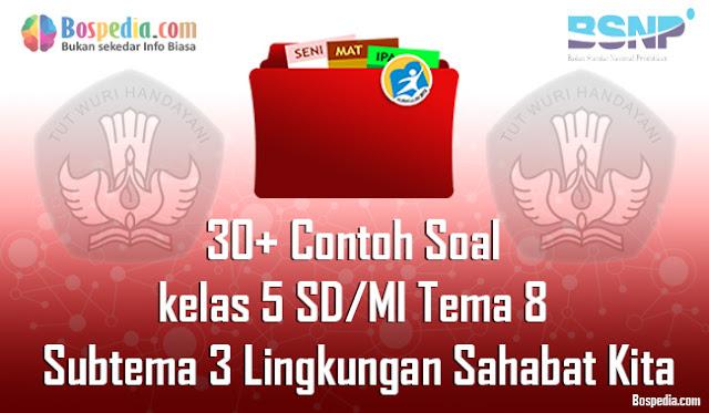 40+ Contoh Soal untuk kelas 5 SD/MI Tema 8 Subtema 3 Lingkungan Sahabat Kita