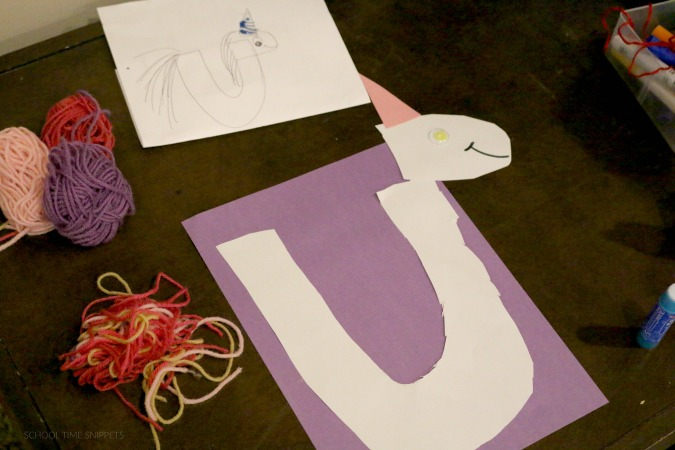 supplies for u is for unicorn craft