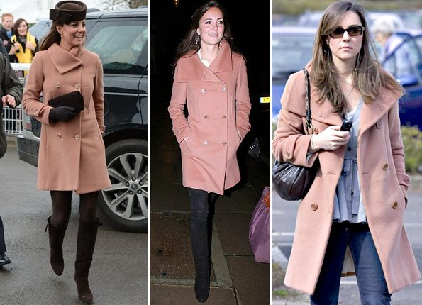 Kate Middleton wore Joseph dusty pink double breasted coat for the first time in 2007