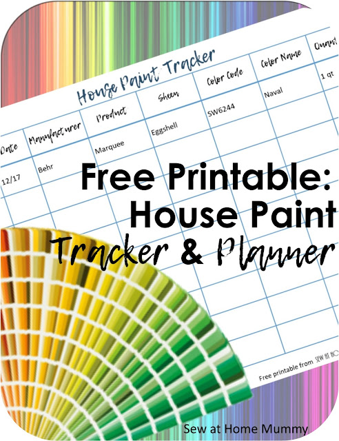 Paint Tracker by Sew at Home Mummy: Keep track of all the paint colors in your home in one location with this easy to download free printable House Paint Planner.