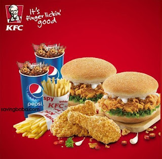 KFC Burgers, Hot n Crispy Chicken, Fries & Pepsi upto 36% off + 1% off from Rs. 193 – NearBuy