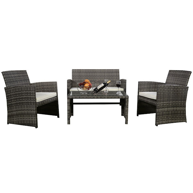 Outdoor Garden Patio 4-Piece Cushioned Seat Mix Gray Wicker Sofa Furniture Set