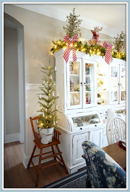 Cottage -Farmhouse- Christmas -Dining- Room -Vintage- High- Chair-Christmas-Tree-Tabletop-Enamel-Bucket-White-Cabinet--From My Front Porch To Yours