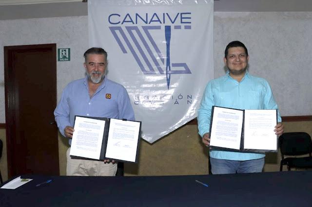 Canaive Yucatán y Casa Díaz firman convenio para apoyar a los industriales del vestido