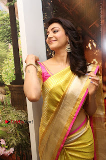 Actress Kajal Agarwal Stills in Golden Silk Saree at Trisha Sesigner Store Launch  0039.jpg
