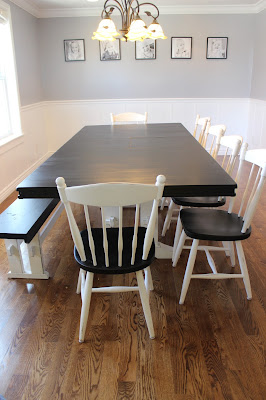 Polyshades and chalk paint dining table refinish over veneer