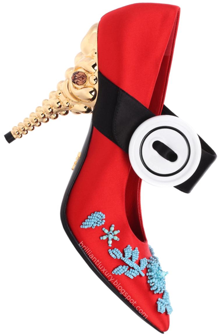 Brilliant Luxury ♦ Prada embellished red satin pumps