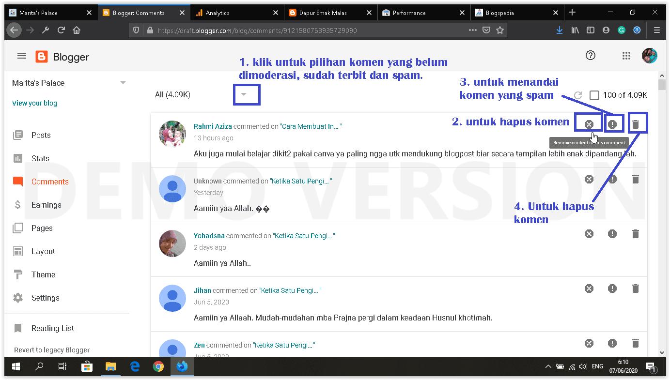 dashboard blogger baru fitur-fitur menu komentar