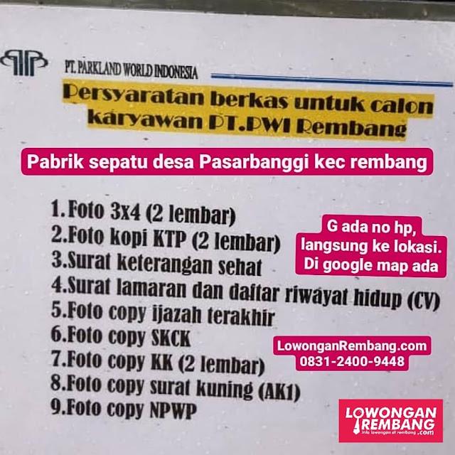 Lowongan Kerja Pegawai Pabrik Sepatu PT Parkland World Indonesia Rembang