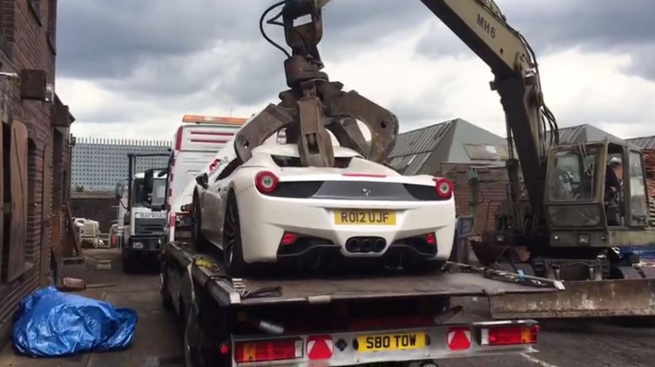 For Wrong Parking And Invalid License, Police Crushed A 102 Million Naira Ferrari Car