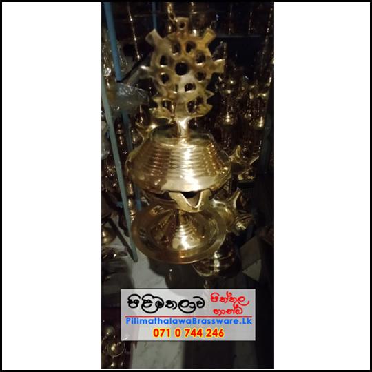 Brass Oil lamp with Dharmachakra - ධර්මචක්රය සහිත පහන