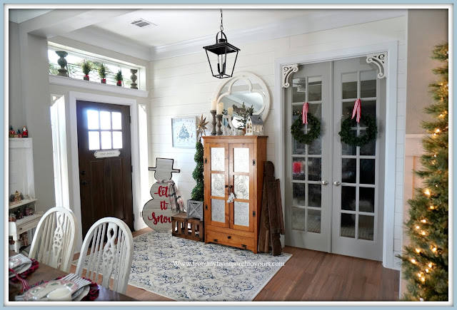 Cottage- Farmhouse- Christmas -Foyer-French-Country-Pie-Safe-From My Front Porch To Yours