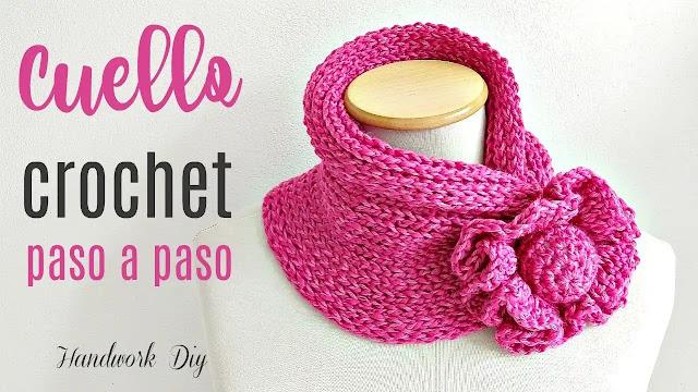 Cómo tejer cuello con flor a crochet paso a paso