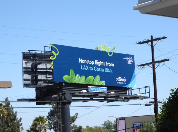 Alaska Airlines Nonstop flights LAX Costa Rica billboard