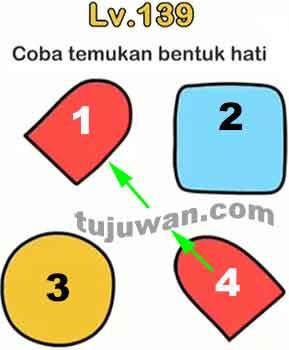 Coba Temukan Bentuk Hati Jawaban Brain Out level 139