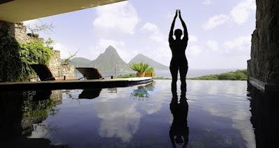 Yoga in swimming pool
