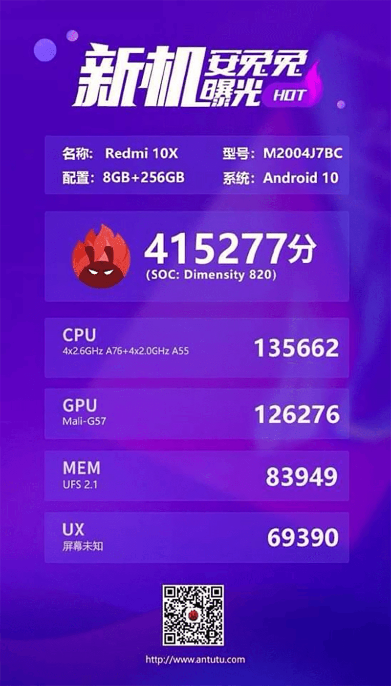 Xiaomi Redmi 10X with Dimensity 820 AnTuTu score
