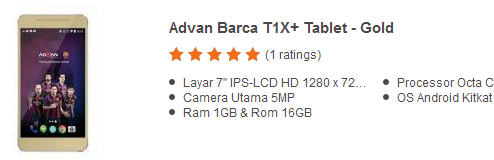 Harga Tablet Advan Barca T1X+