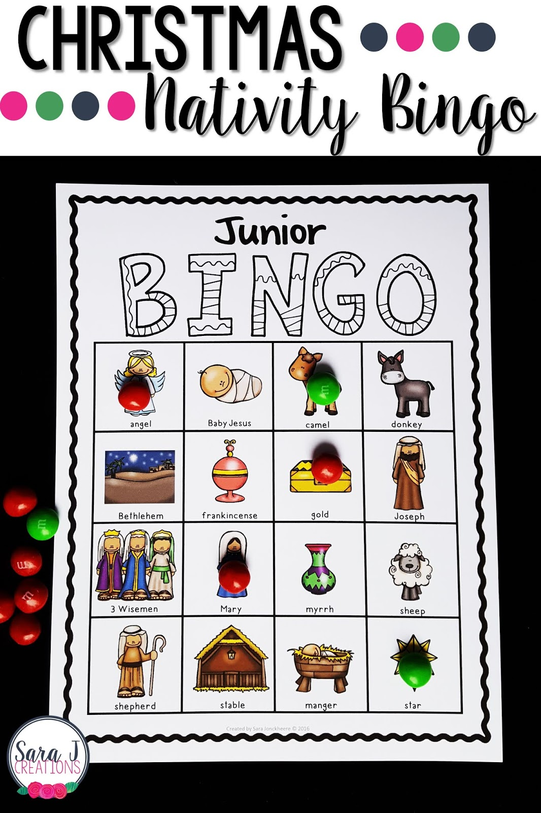 Christmas Nativity Bingo is awesome for kids in a Christian school, Catholic school, Sunday school, church, or homeschool setting. Retell the birth of Jesus with this fun game! Comes in color and black and white plus 30 different boards so you can just print and play and it will be perfect for a large group.