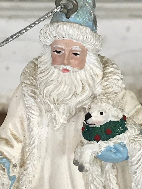 Santa ornament white beard robe puppy wreath collar