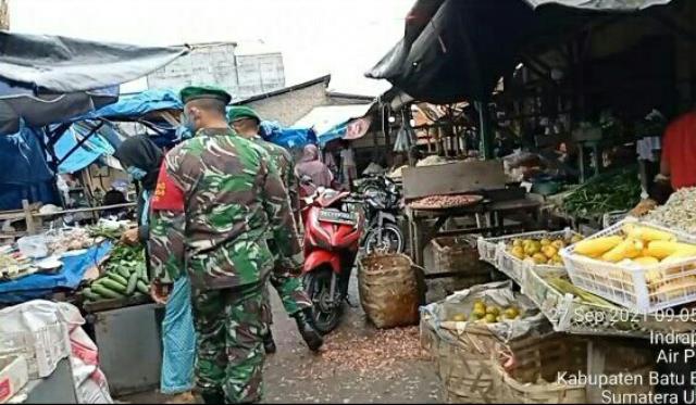 Pam Disiplin Mandiri Covid-19 Dilakukan Personel Jajaran Kodim 0208/Asahan Dipasar Delim Indrapura
