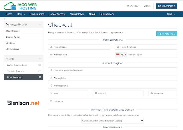 isi data pendaftaran nama domain