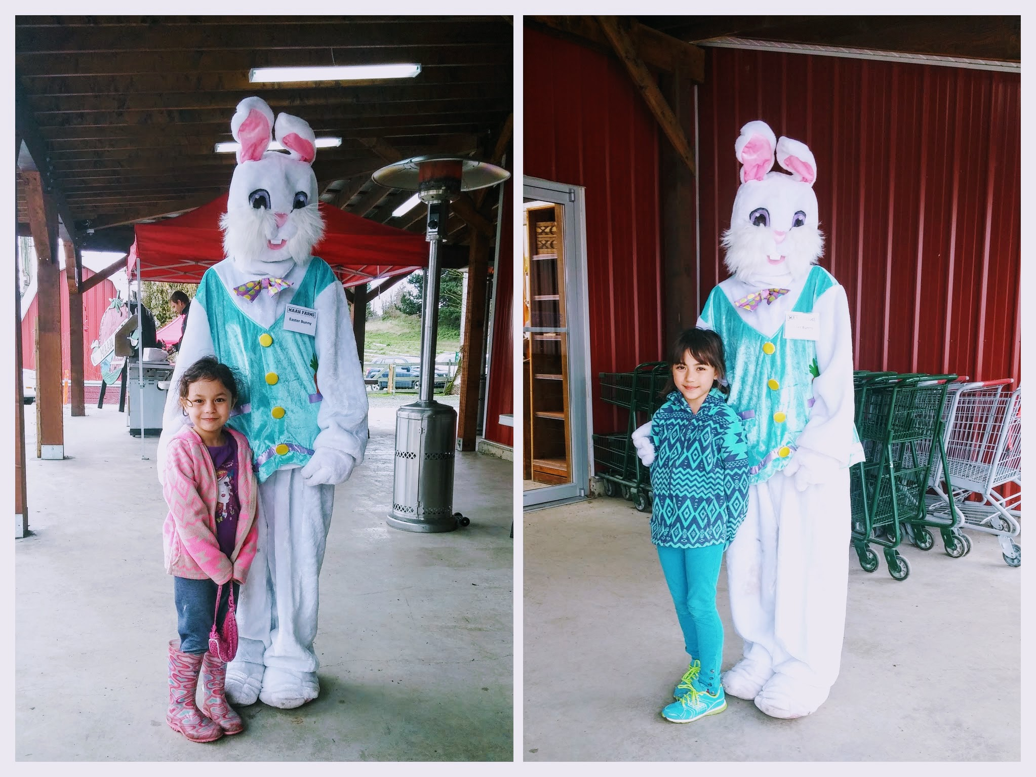 They were both so happy because they were able to take a picture with the lady bunny.