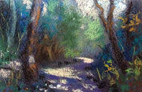 Plein air study of a landscape in soft pastels