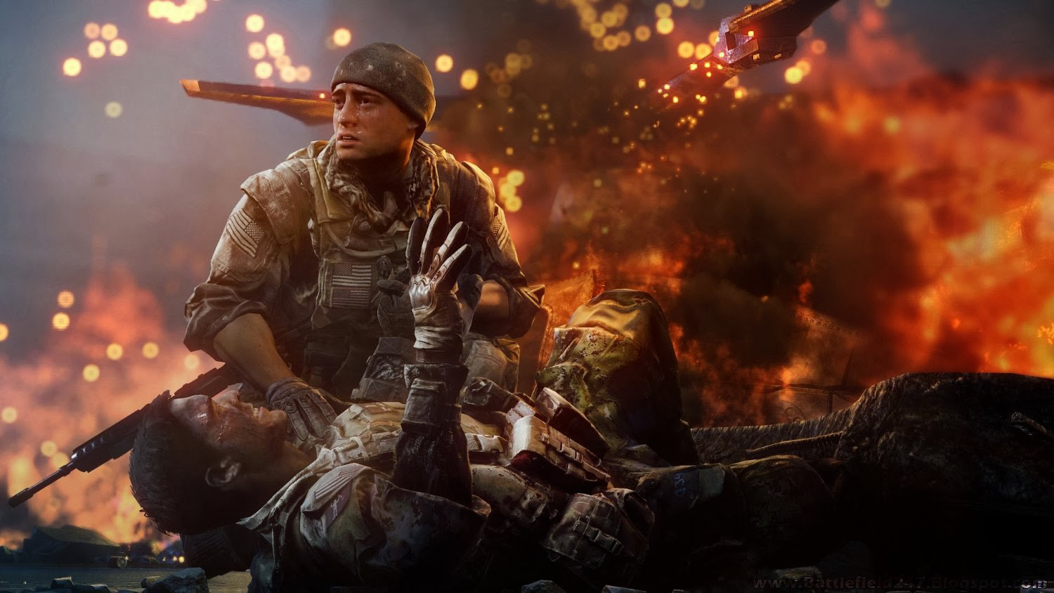 BF4 The Crash Helicopter Soldiers Battle Fire Burn Background Wallpaper 1500x844