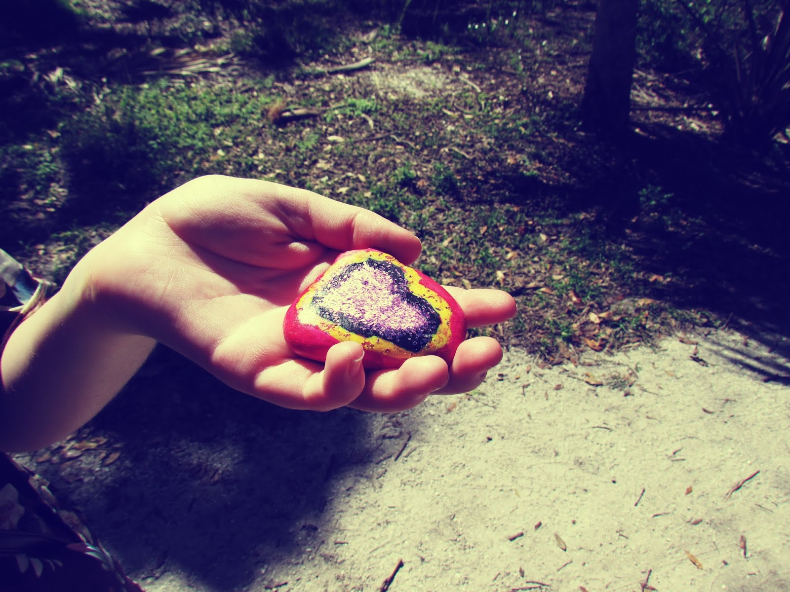A Girl Holding a Painted Rock in Nature With a Heart and Glitter Painted on It