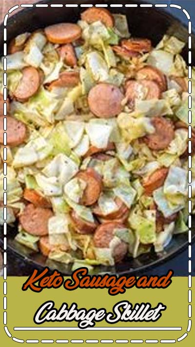 This Keto Sausage and Cabbage Skillet is ready in under 20 minutes and has less than 6 carbs per serving! The perfect low carb comfort food! #keto #lowcarb