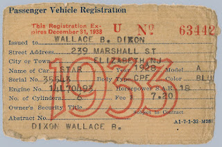 1933 NJ Passenger Vehicle Registration issued to Wallace B. Dixon for his 1926 Overland Coach. Privately held by E. Ackemann, 2016.