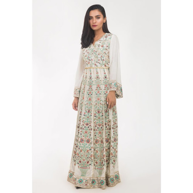 Gul Ahmed Women Eid collection white color lenth maxi khadi suit