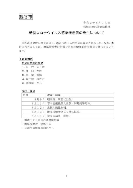 新型コロナウイルス感染症患者の発生について(8月14日発表)