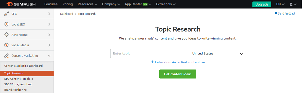 How to find topics, subtopics, and ideas to cover on website using Semrush topic research tool?