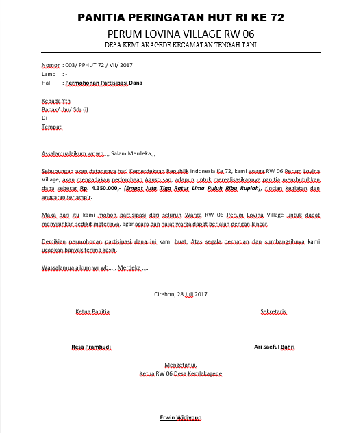 Contoh Surat Permohonan Bantuan Dana Dan Proposal Kegiatan